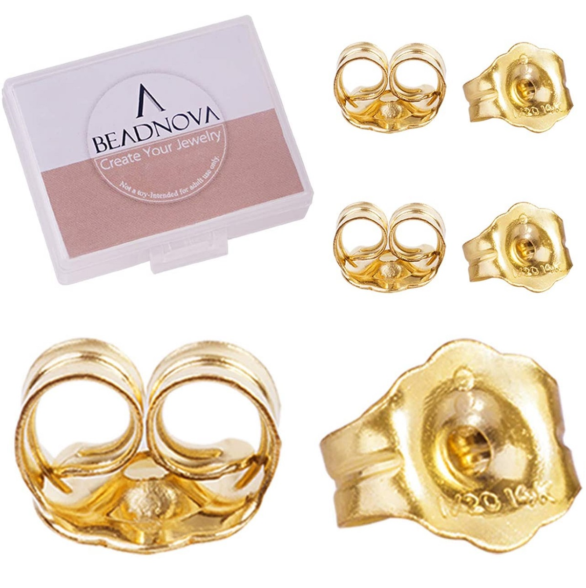 BEADNOVA 14k Gold Earring Backs -1