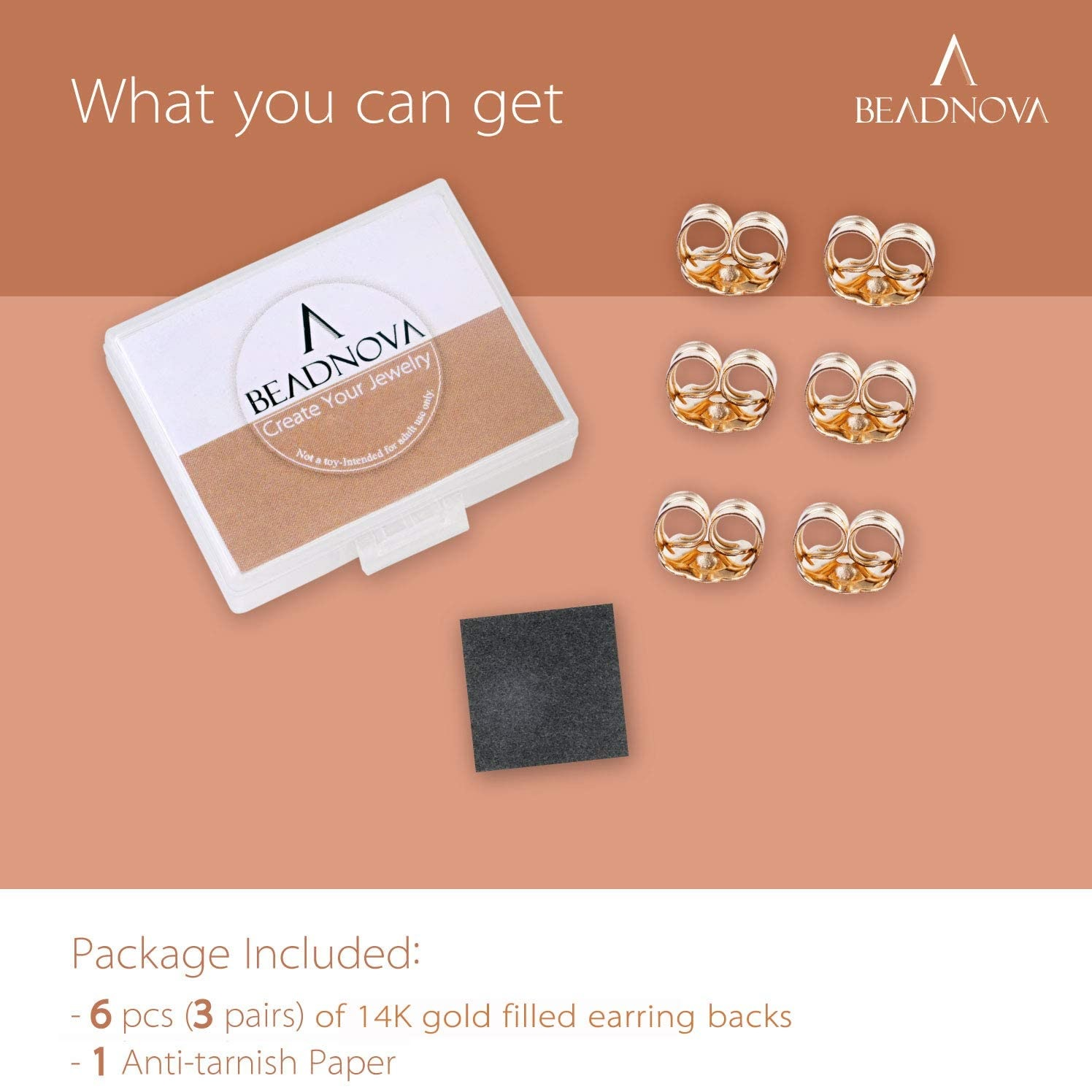 BEADNOVA 14k Gold Earring Backs -3