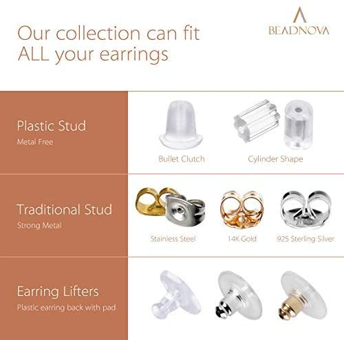 BEADNOVA 14k Gold Earring Backs -4
