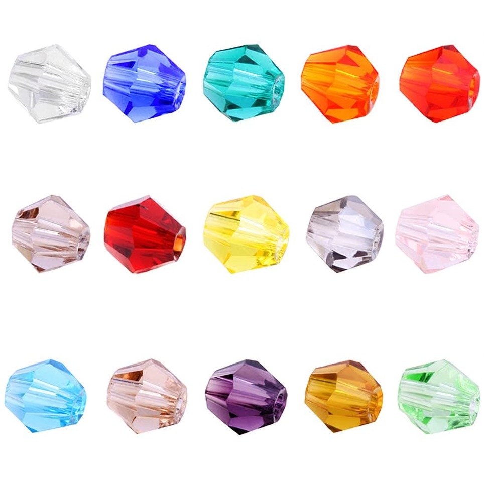 BEADNOVA 4mm Bicone Glass Beads Facted Bicone Crystal Beads