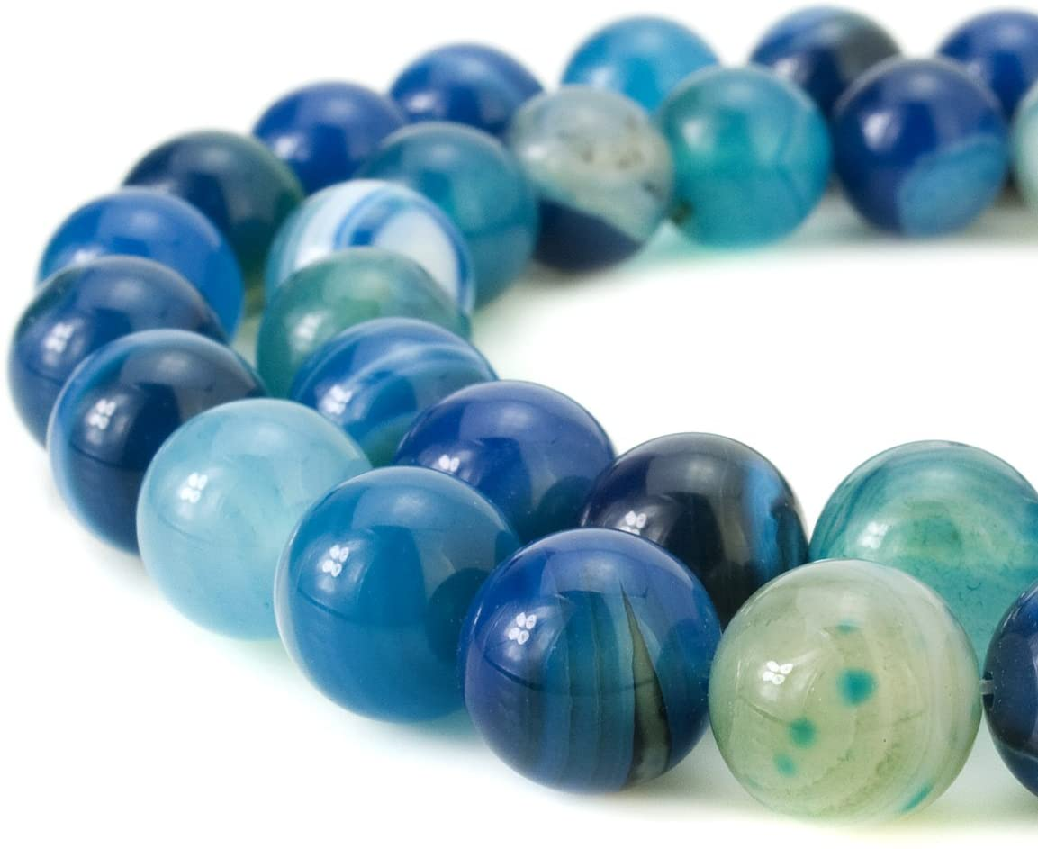 BEADNOVA 8mm Natural Blue Banded Agate -1