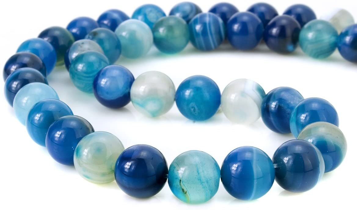 BEADNOVA 8mm Natural Blue Banded Agate -2
