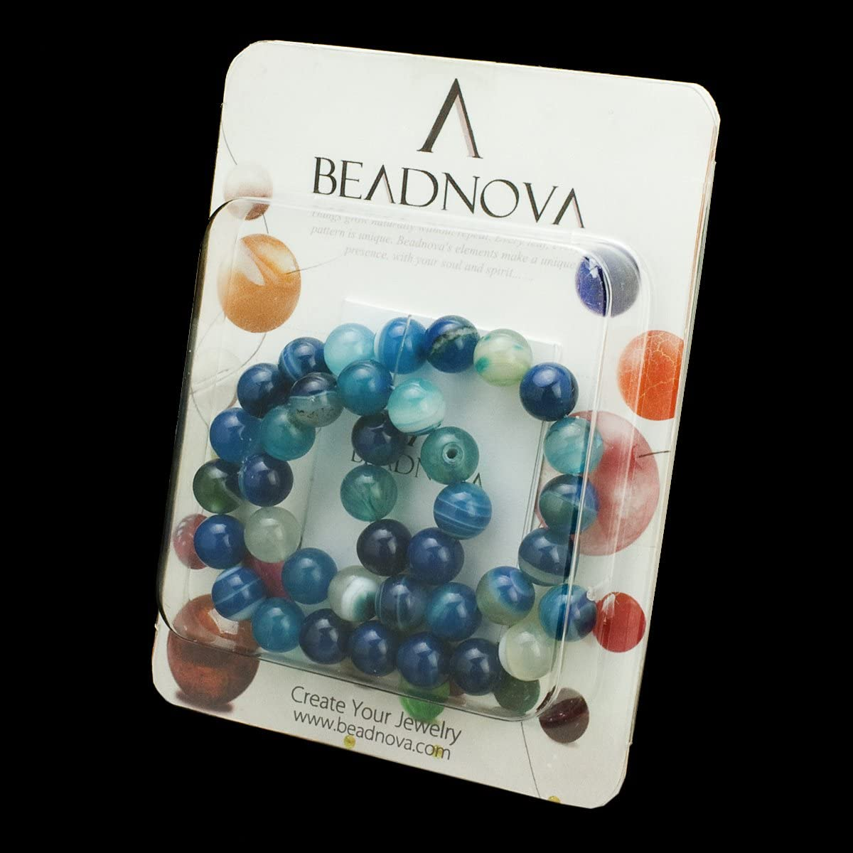 BEADNOVA 8mm Natural Blue Banded Agate -6