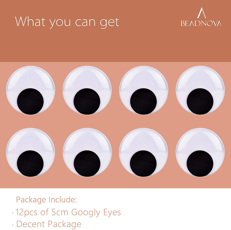 BEADNOVA Black Wiggle Googly Eyes 50mm