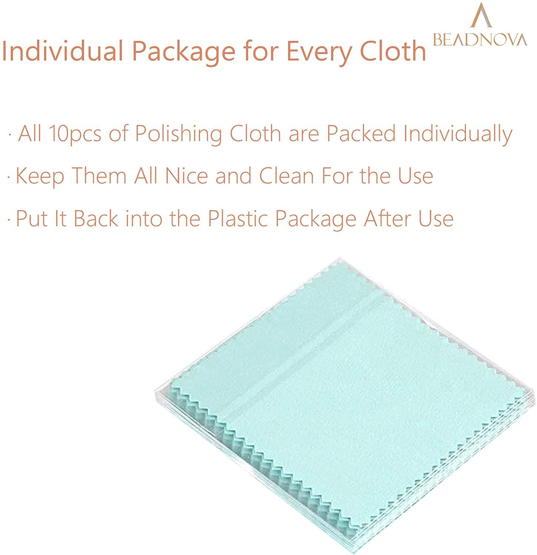 BEADNOVA Silver Polishing Cloth Cotton Jewelry Cleaning Cloth