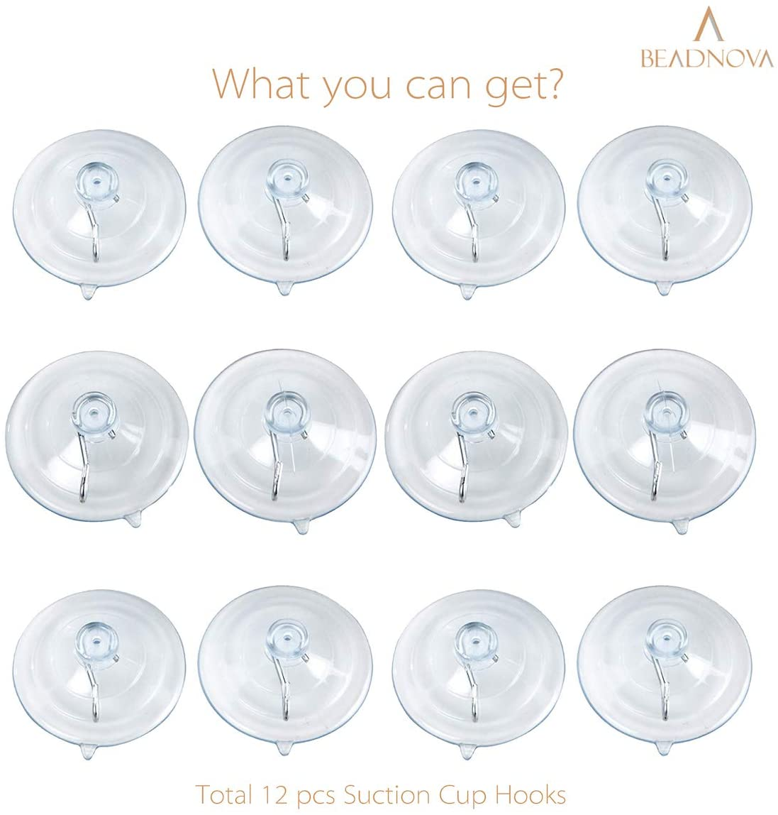 BEADNOVA Suction Cups for Glass-12p-1