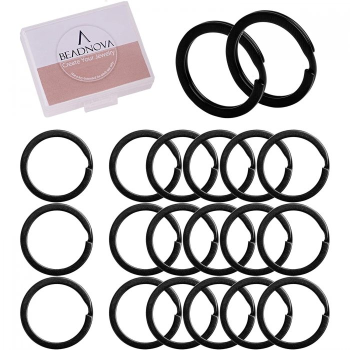 Beadnova Black Key Ring Flat Split Rings 25mm