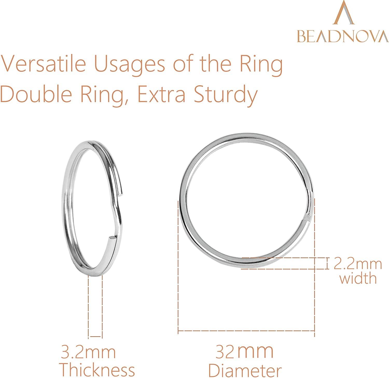 Beadnova Key Chain Ring Metal Split Ring-32mm