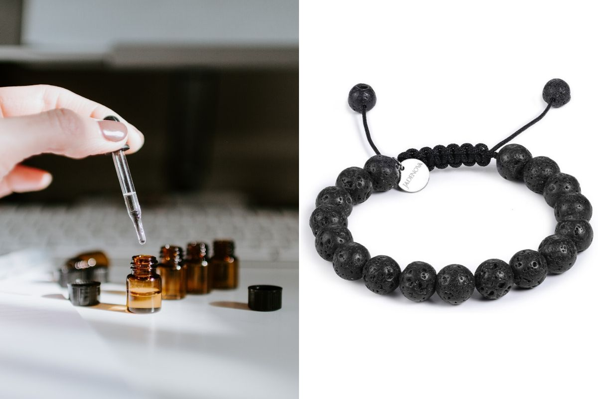 essential oil and lava beads