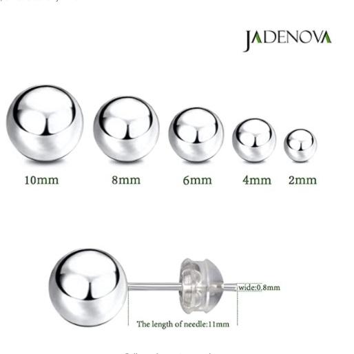 JADENOVA 925 Sterling Silver Ball Stud Earrings-10mm-4