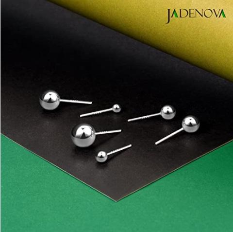 JADENOVA 925 Sterling Silver Ball Stud Earrings-6mm