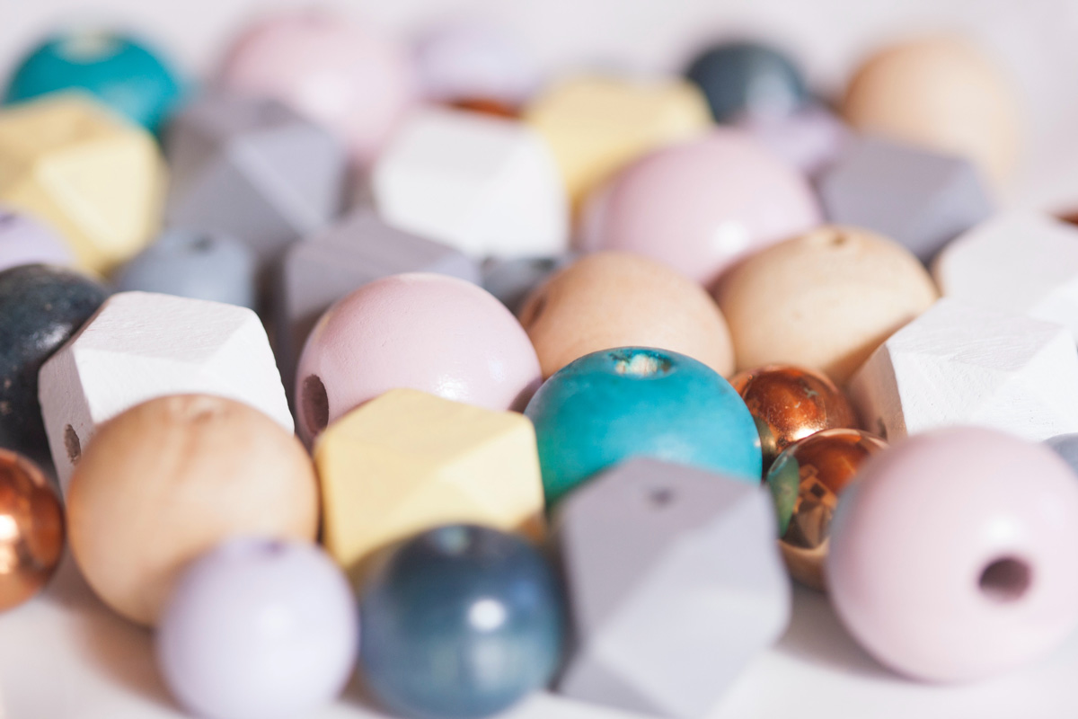 Assorted Pastel Color Wood Beads