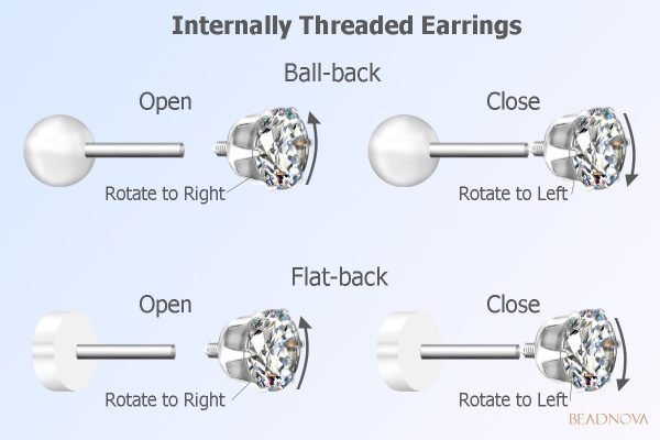 how to remove internally threaded earrings