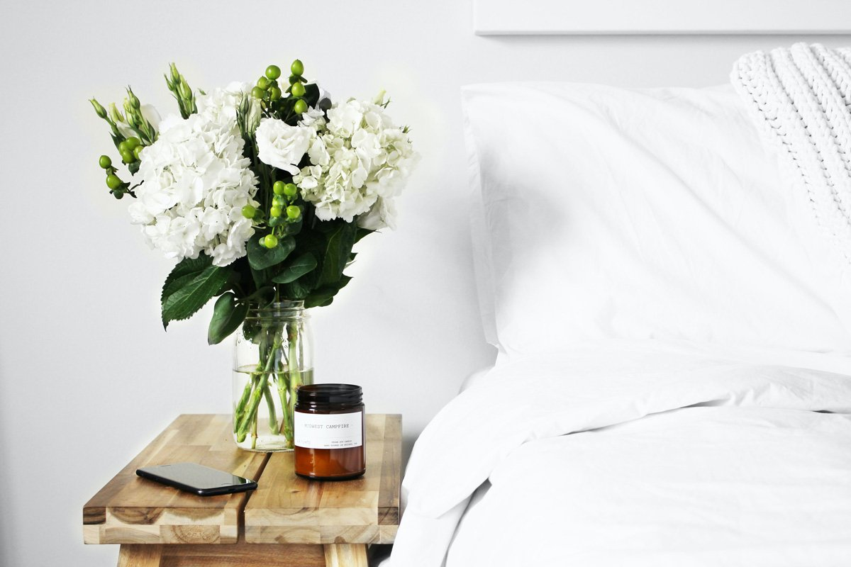 White Flower Arrangement for Bedroom