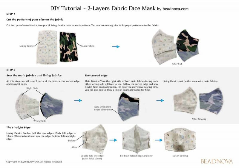 Olson face mask with filter pocket sewing instruction