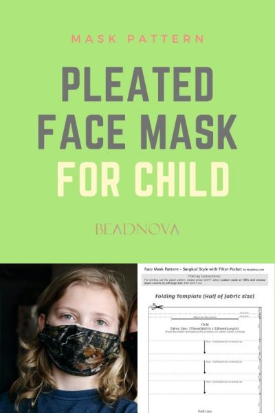 free printable pleated face mask sewing pattern for child