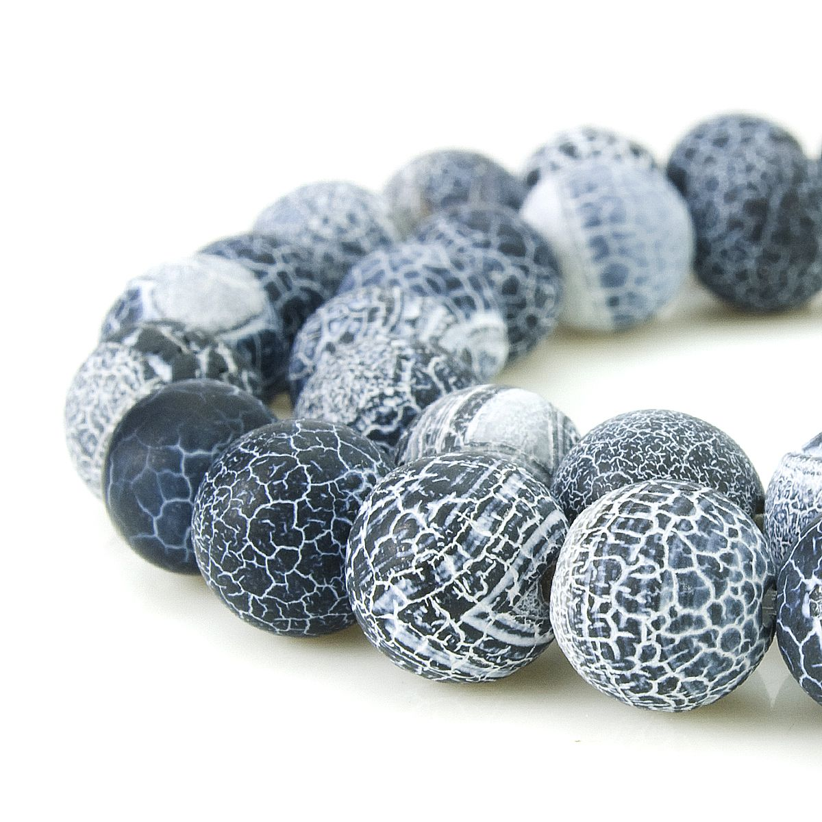 Black Frosted Agate beads