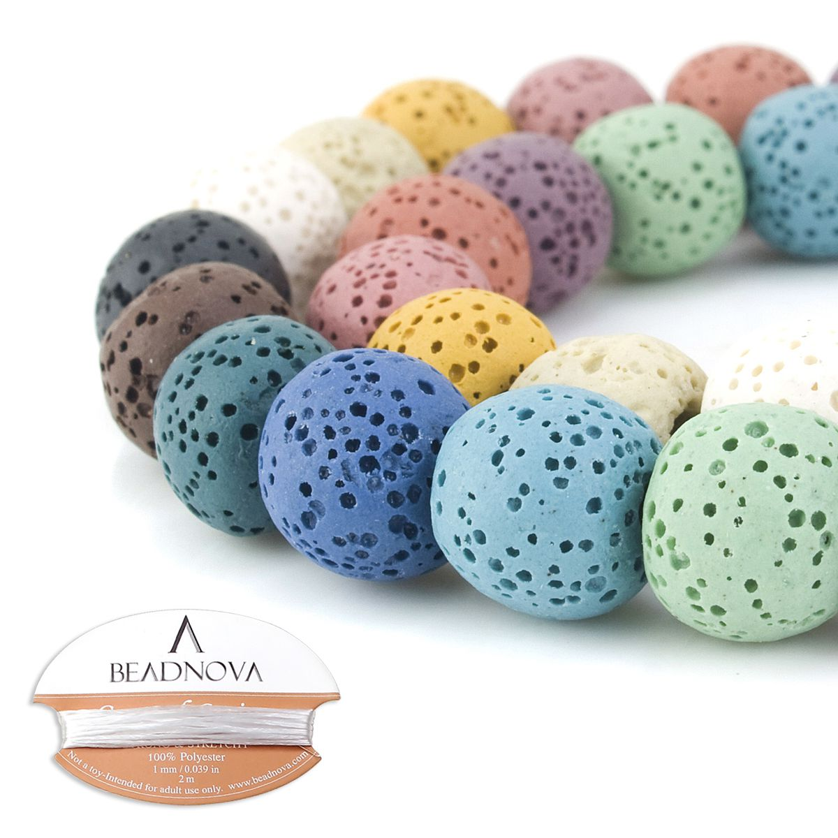 Approxi 63pcs per Strand BORUO Natural 6mm Brown Color Lava Rock Stone Semi Precious Gemstone Round Loose Beads Energy Stone Healing Power for Jewelry Making