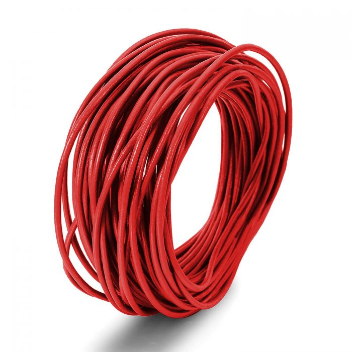 Basic price 1 m = 9.00 Euro50 cm leather strap Round 4 mm nappa leather red leather Cord