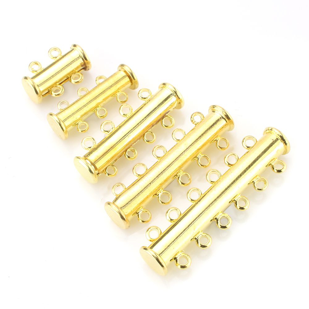 8set Gold Silver 4 Sizes Magnetic Slide Tube Clasp Lock Necklace Spacer Multi Strands Necklaces Bracelets Connectors with Transparent Storage Box