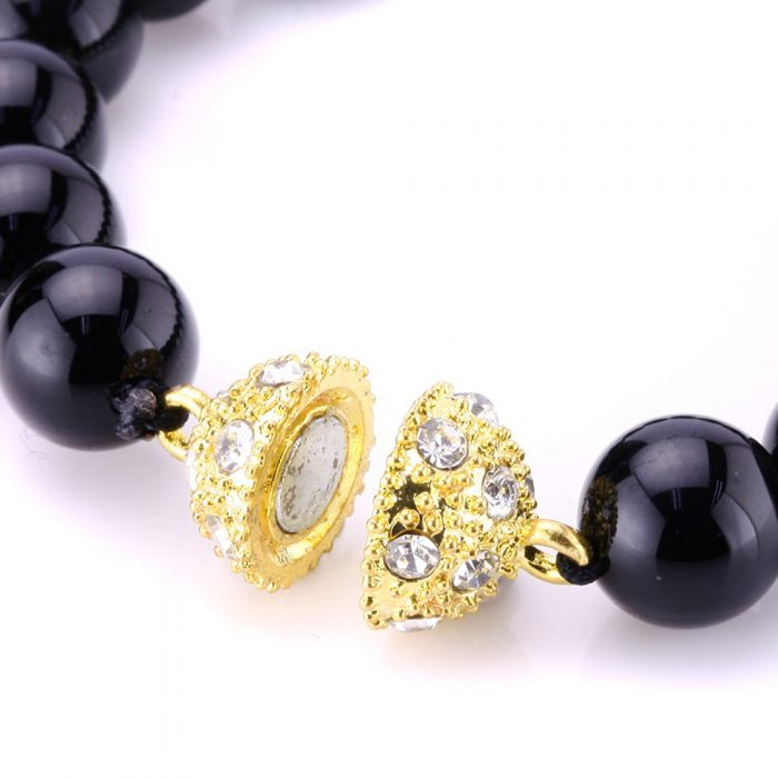 Crystal Style Bling Rhinestone Pave Ball Magnetic Beads Clasp for Bracelet Necklace Jewelry LolliBeads 10 mm Gold//Silver Plated 10 Sets TM