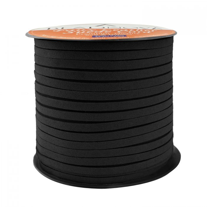 5mm Flat Leather Cord Faux Suede Cord 50 Yards Roll Spool for Necklace Bracelet Jewelry Making (Black)