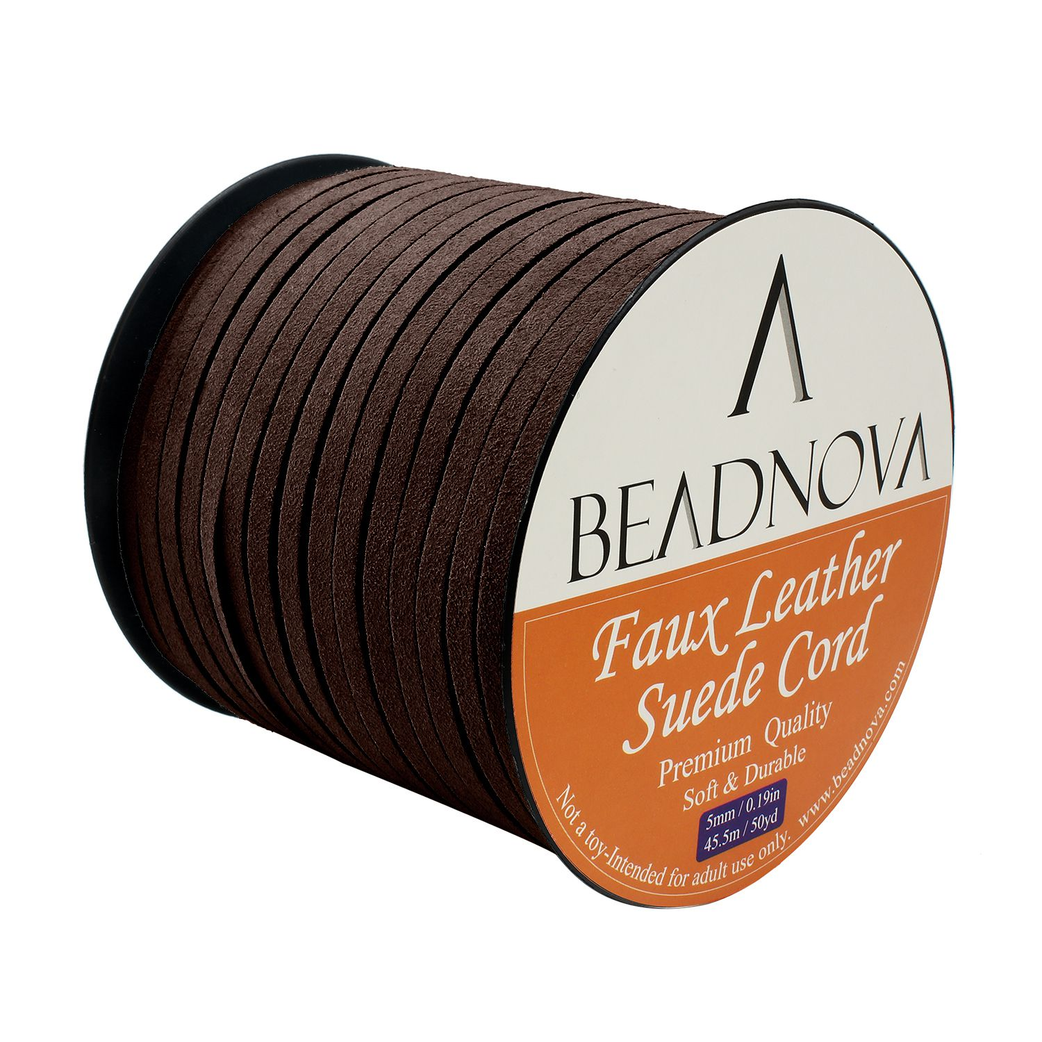 BEADNOVA Flat Leather Cord Fiber Lace Faux Leather Suede Cords Leather Strip Flat Thread String for Jewelry Making and Bracelets 4 Colors, 3.3yard, 5mm