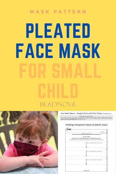 Free printable pleated face mask sewing pattern for small child
