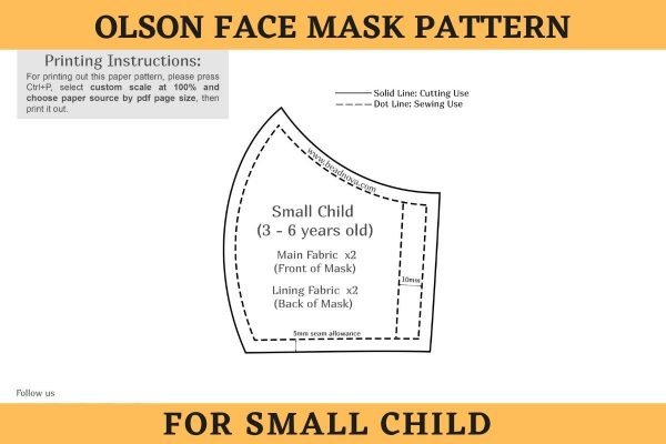 Free printable 3D Olson Face Mask Pattern for small Child