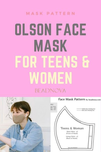 Free Printable 3D Olson Face Mask Pattern for Teens & Woman