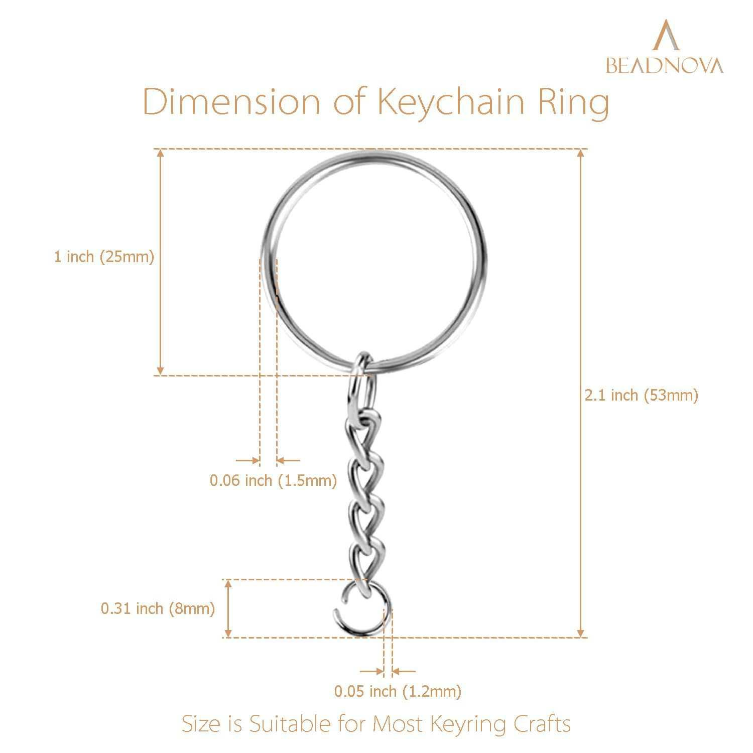 BEADNOVA Split Key Rings with Keychains and Jump Ring Metal Keychain Kit Key Chains for Jewelry Making Key Chains Rings DIY (25mm, 150pcs)
