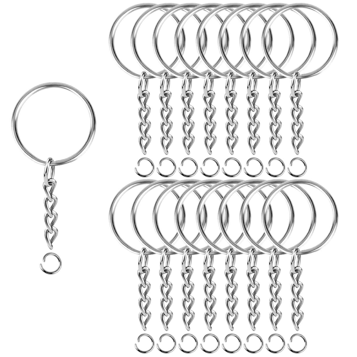 BEADNOVA Split Key Ring with Key Chains and Jump Ring Metal Split Keychains Ring for Crafts DIY Keychain Accessories Resin(25mm, 300pcs)
