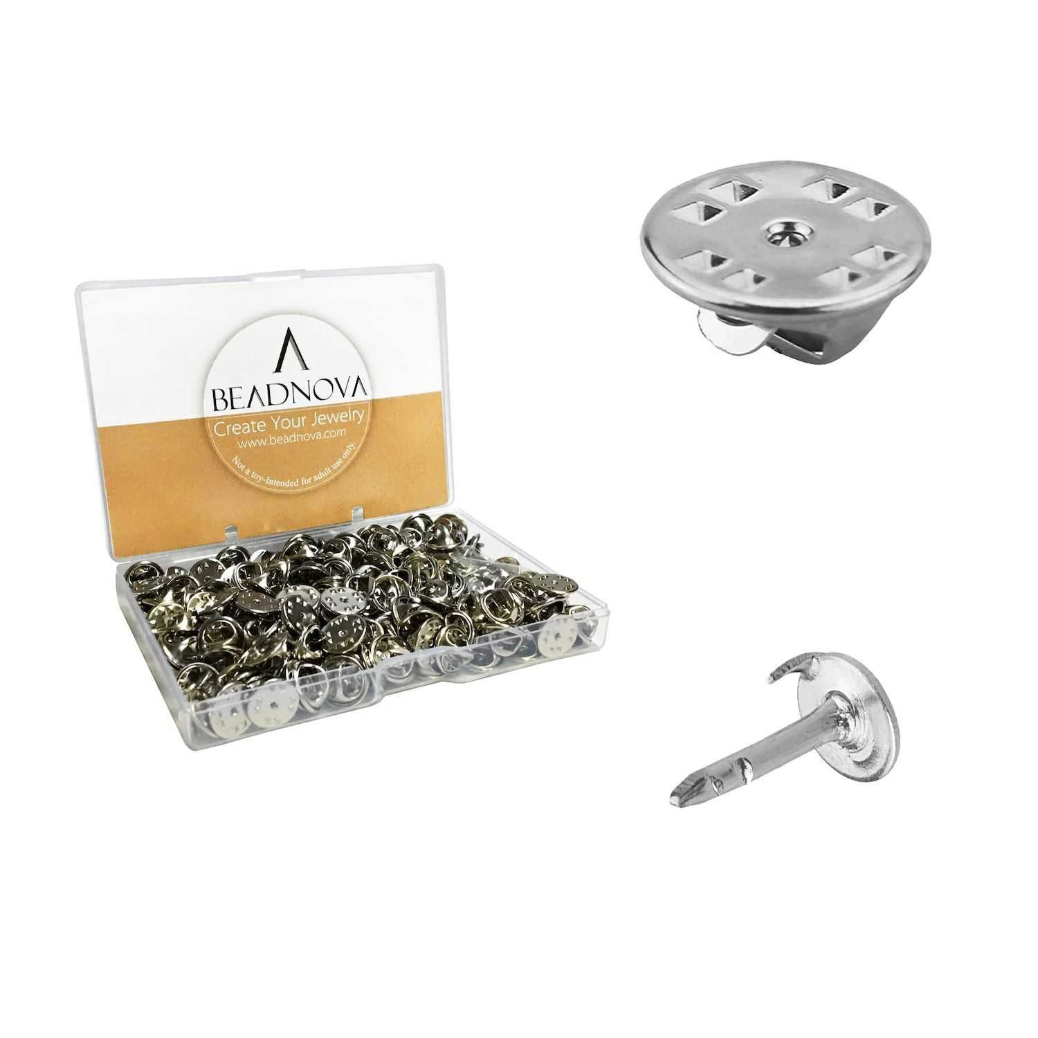 BEADNOVA Butterfly Pin Backs Clutch Tie Tacks Pin Backs for Lapel Pins Blank Pins with Pin Backing (Silver, 150 Sets)