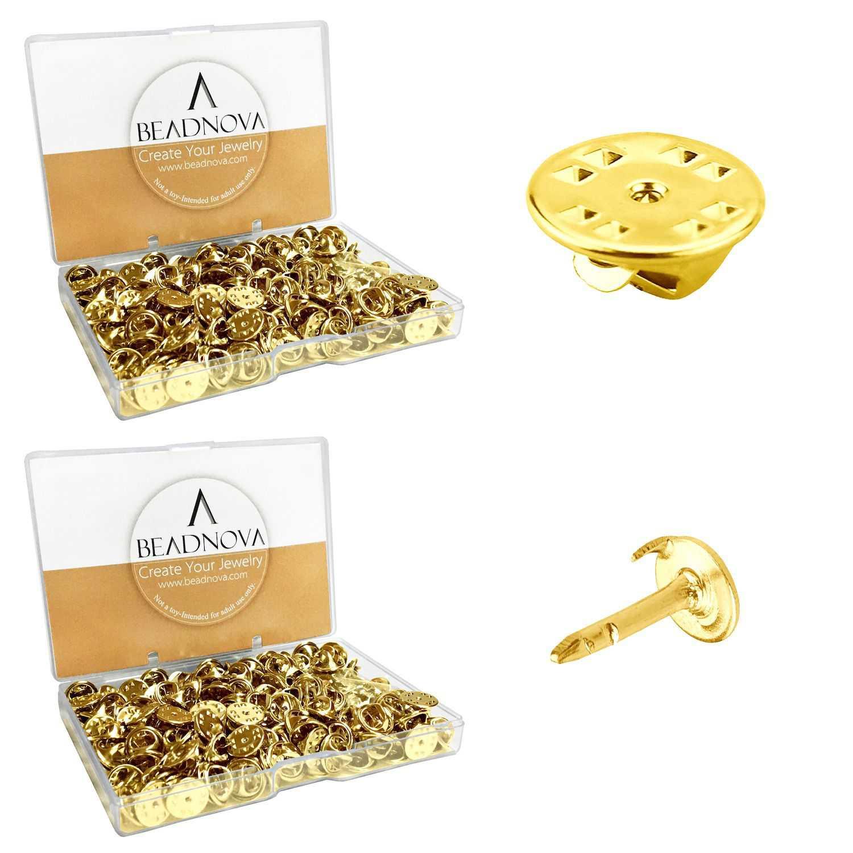 BEADNOVA Butterfly Pin Backings Clutch Tie Tacks Lapel Pin Backs Enamel Pin Backs Blank Pins with Pin Backs (Gold, 300 Sets)