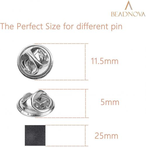 BEADNOVA Butterfly Clutch Pin Backs Locking for Enamel Pin Backs Lapel Pin Backs (Silver, 100 pcs)