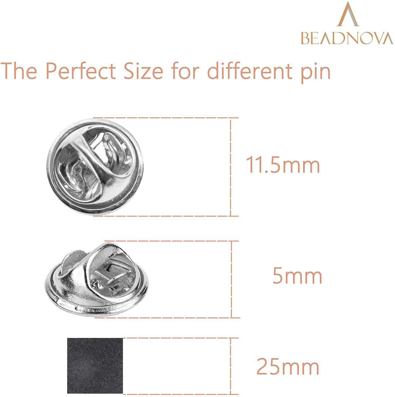 BEADNOVA Butterfly Clutch Pin Backs Locking for Enamel Pin Backs Lapel Pin Backs (Silver, 100 pcs)