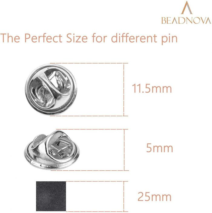 BEADNOVA Butterfly Clutch Metal Pin Backs Pin Backings for Lapel Pins Pin Clips (Silver, 50 pcs)