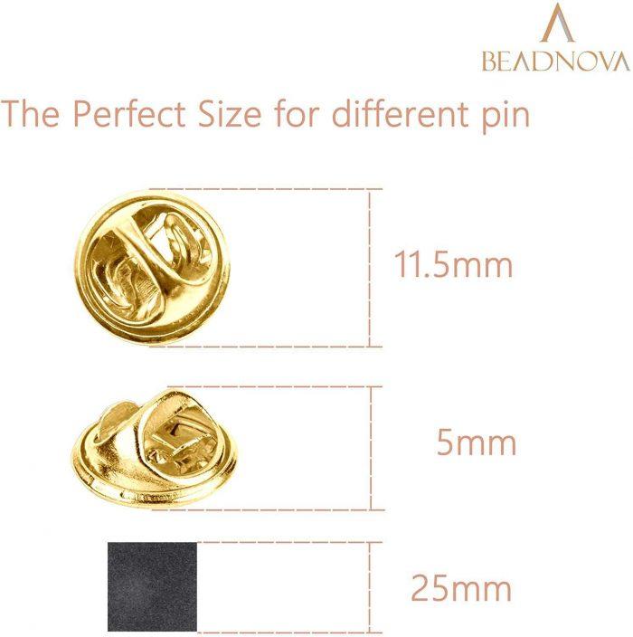 BEADNOVA Butterfly Clutch Metal Pin Backs Pin Backings for Lapel Pins Pin Clips (Silver, 50 pcs)