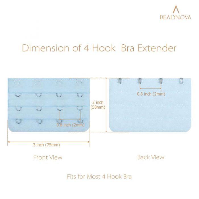 BEADNOVA 4 Hook Bra Clasp Extender Bra Back Extender (4pcs, Blue Mix)
