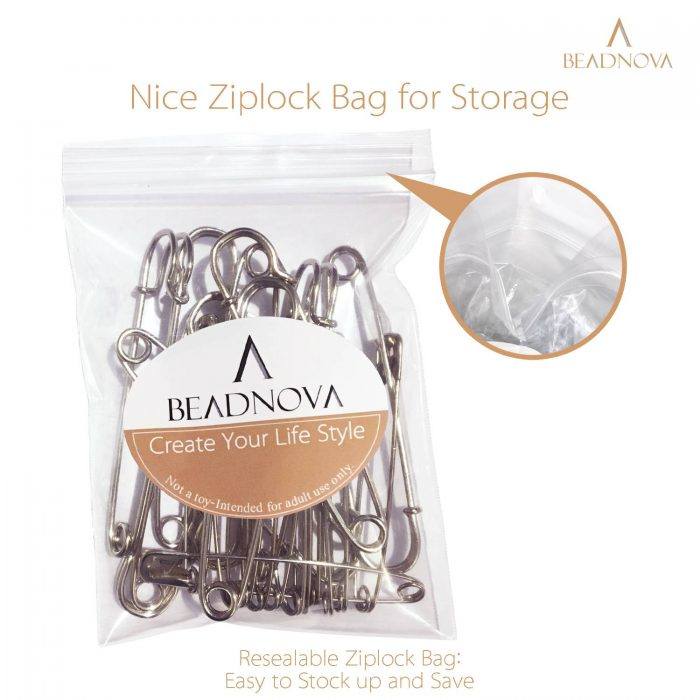 BEADNOVA 4 Inch Large Safety Pins Heavy Duty 20pcs Giant Safety Pins Stainless Steel Big Safety Pin Kilt Pin For Fashion, Sewing, Quilting, Blankets, Upholstery, Laundry and Craft (10cm, 20pcs)