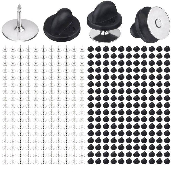 BEADNOVA 200 Pairs Pin Back Lapel Pin Backs Tie Tacks Blank Pins With Rubber Dammits Pin Backs (Silver Black, 200 Sets)