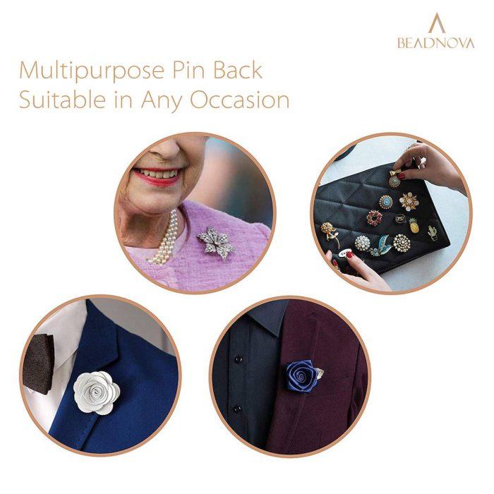 BEADNOVA 50 Pairs Pin Backings Tie Tacks Blank Pins With Rubber Pin Backings Pin Backs for Crafts (Silver Black, 50 Sets)