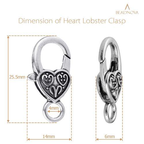 Heart-Lobster-Clasps-Tibetan-Antique-Silver-20pcs