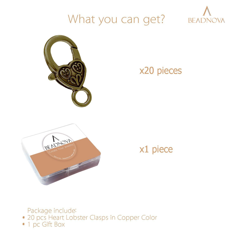 Heart-Lobster-Clasps-Tibetan-Antique-Bronze-20pcs