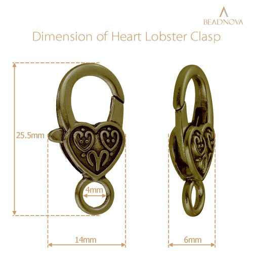Heart-Lobster-Clasps-Tibetan-Antique-Bronze-And-Silver