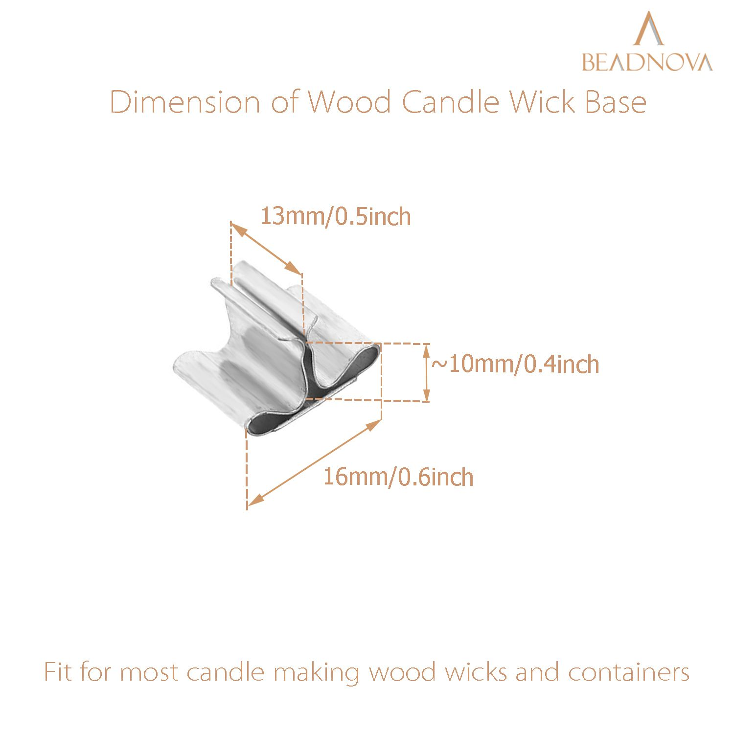 BEADNOVA Wood Candle Wick Clips 30pcs Wooden Candle Wick Sustainer Tabs for Candle Making and Candle DIY (16mm/ 0.6 inch)