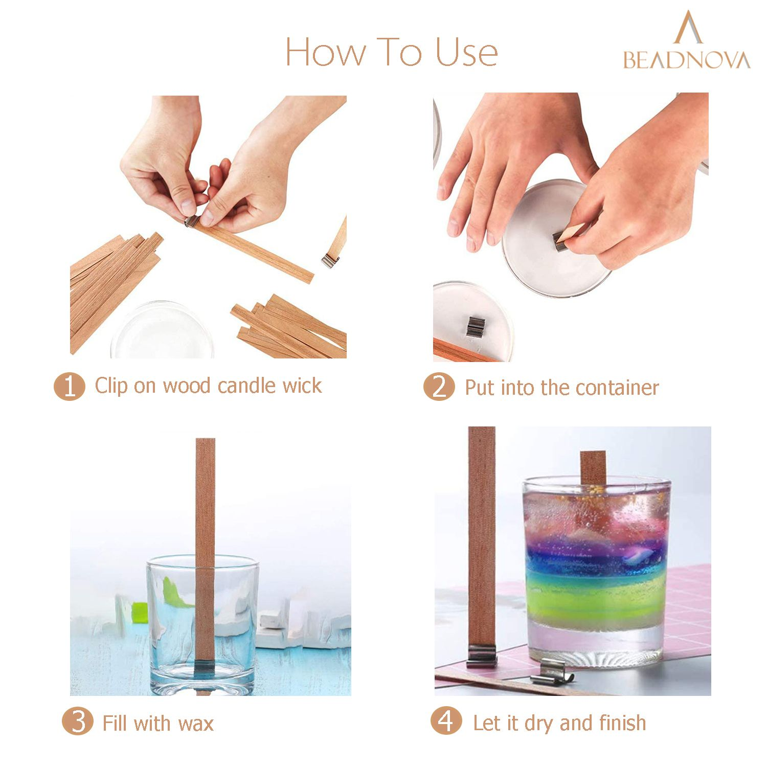 BEADNOVA Wood Wicks for Candles with Substainer Tab 20pcs Wooden Thick Candle Wicks Crackling Wood Wicks with Iron Stand Wooden Wicks for Candle Making