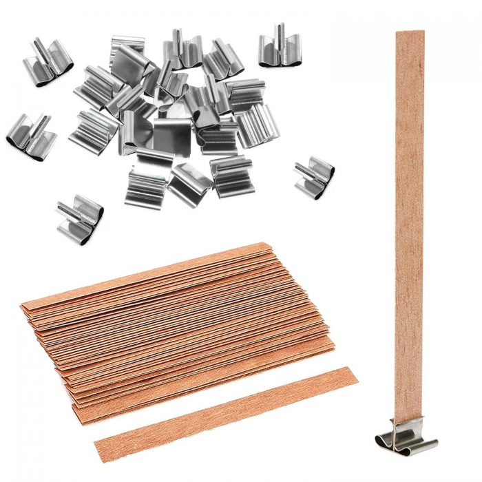BEADNOVA Wooden Wicks with Clips for DIY Candles 60pcs Wooden Thick Candle Wicks Crackling Wood Wicks with Iron Stand Wooden Wicks for Candles Making