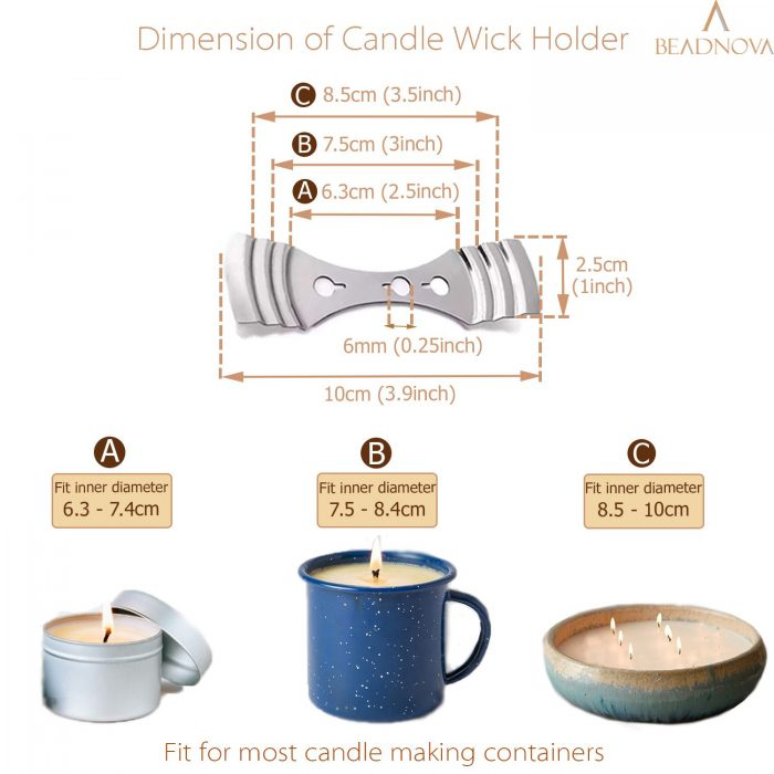 BEADNOVA Cotton Candle Wicks with Wooden Candle Wick Holders Bar for Candle Making Supplies Making Kit (4, 6, 8 Inch, 150pcs Wicks+ 50pcs Holders)