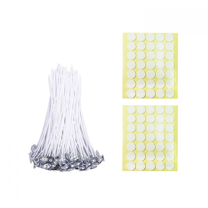 BEADNOVA Candle Cotton Wicks with Double Sided Candle Wick Stickers for Short Candle Making Supplies(4 Inch, 50pcs)